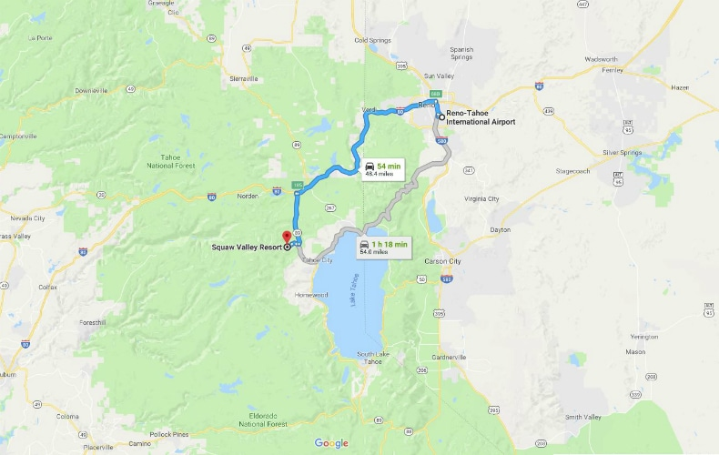 Squaw Valley Alpine Meadows To Reno Airport Map SkiBookings.com