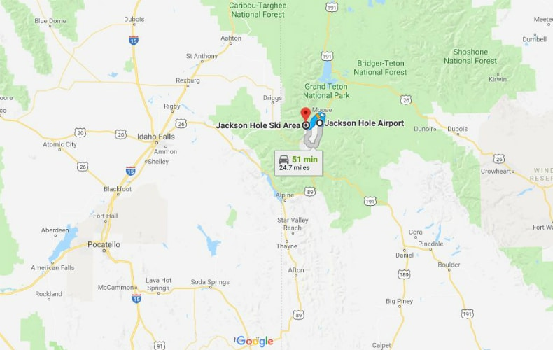 Map showing the route from Jackson Hole Airport to the Mountain Resort