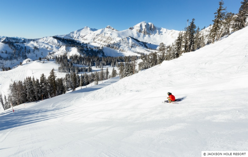 A skier in red on one of the more advanced runs at Jackon Hole Mountain Resort, Teton Village
